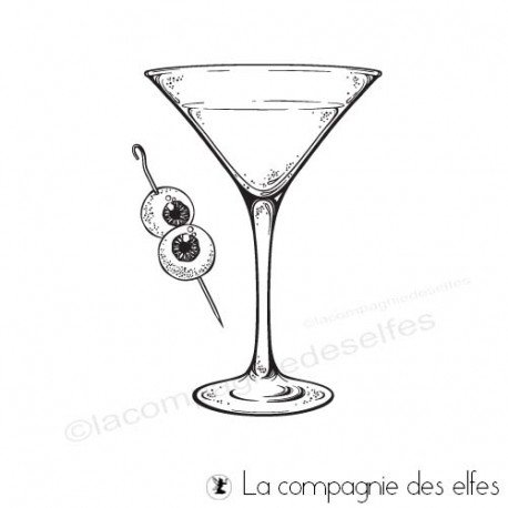 Achat tampons pique cocktail Martini Halloween