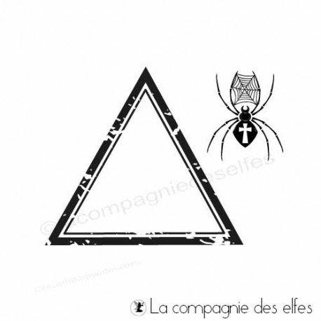 Timbre triangle et araignée Halloween