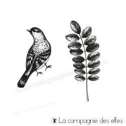 Tampon encreur acacia et oiseau