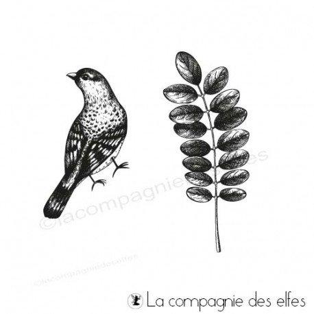 Timbre feuillage acacia et oiseau