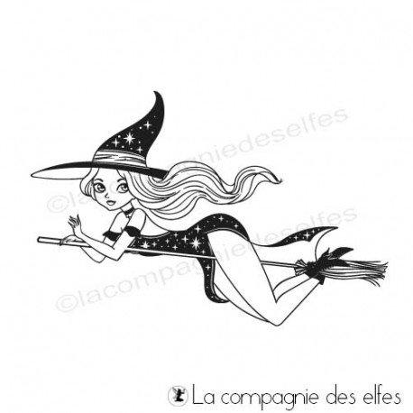 Achat tampon sorcière Halloween | tampon scrap Haloween