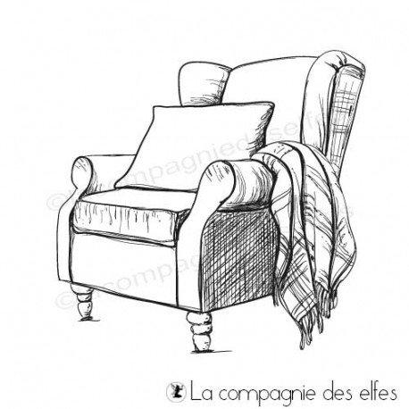 Tampon encreur fauteuil vintage plaid