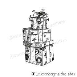 Tampon paquets cadeaux carrés
