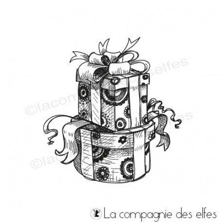 Achat tampon pile de paquet cadeaux pour les fêtes