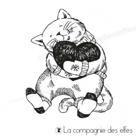 Tampon encreur le chat coeur hiver