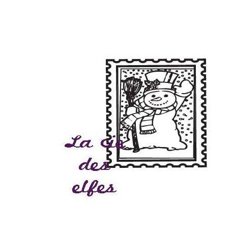 Pocket letter de Cricri en forme de calendrier de l'avent Timbre-tampon-bonhomme-de-neige-nm
