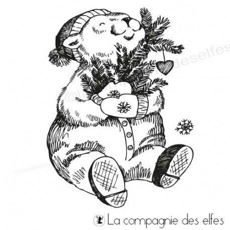Tampon encreur l'ours de Noël