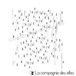 Tampon de fond gouttes de pluie | rain rubberstamp