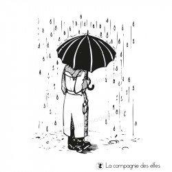 Tampon l'homme sous la pluie