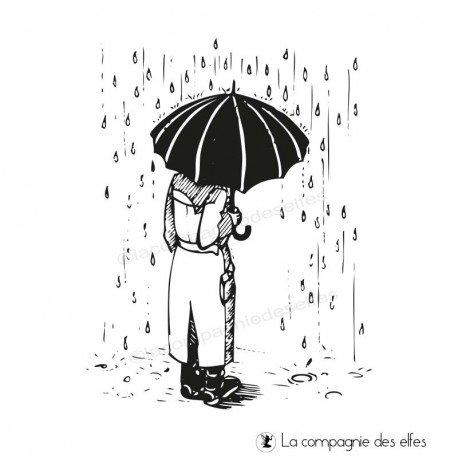 Tampon de fond homme sous la pluie | man under rain rubberstamp