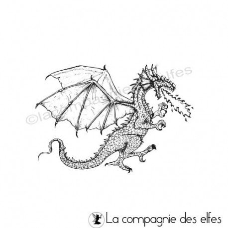 Tampon encreur dragon flamme | dragon rubberstamp