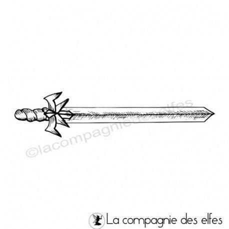 Tampon encreur dague médiévale