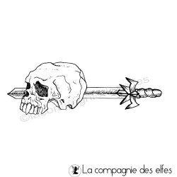 Tampon encreur dague t^te de mort viking