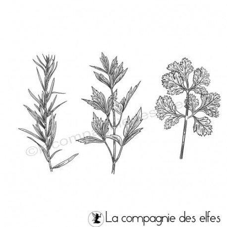 Tampons encreur herbes aromatiques du jardin
