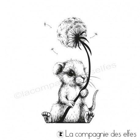 Tampon encreur souris fleur