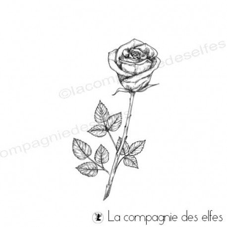 Tampon encreur tige de rose| achat tampon scrap botanique