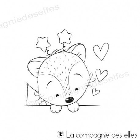 Tampon encreur renard étoiles | little fox stamp
