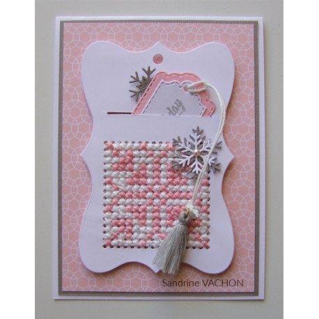 Carte brodée rose