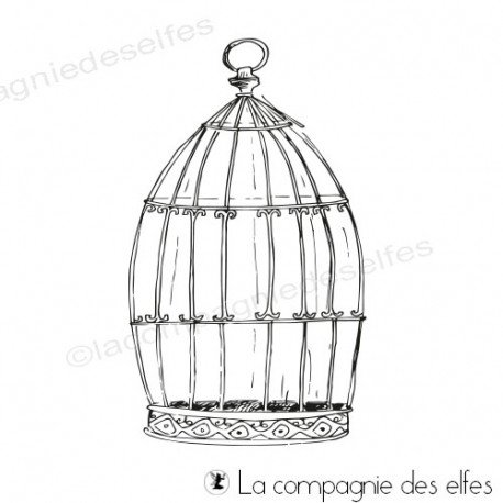 Achat tampon cage oiseaux   bird cage stamp