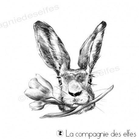 Achat tampon lapin Pâques | easter rabbit stamp