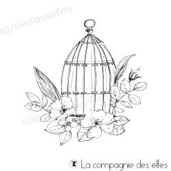 Tampon cage oiseaux fleurie