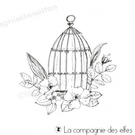 Achat tampon cage oiseaux | bird cage stamp