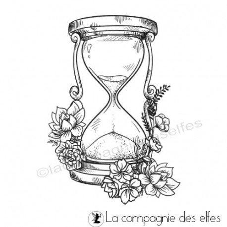 Tampons le temps passe sablier fleurs