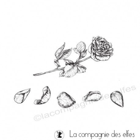 Tampon encreur rose pétales| wedding rose rubberstamp