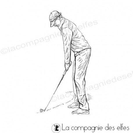 Achat tampon homme sport golf