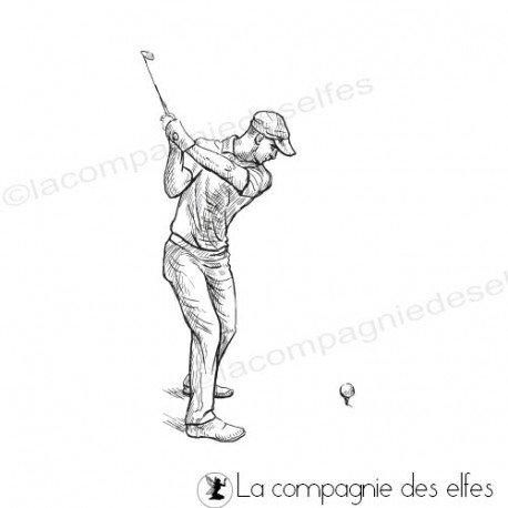 Achat tampon homme sport golfeur