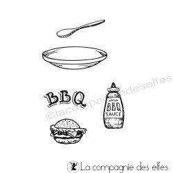 Achat tampon hamburger ketchup BBQ barbecue