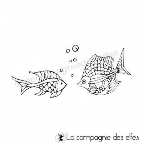 Tampon encreur bulles et poissons