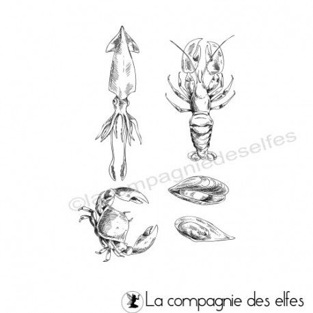Tampon crabe calamar moules homard