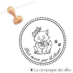 Tampon chat sur mesure   fait main tampon encreur