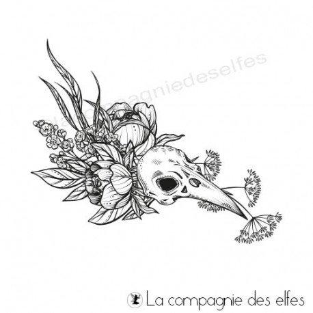 Tampon encreur crane gothique | Gothic bird stamp