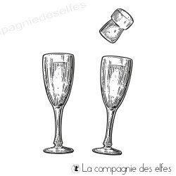 Tampon encreur flûtes de champagne