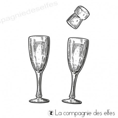 Tampon encreur flûtes à champagne