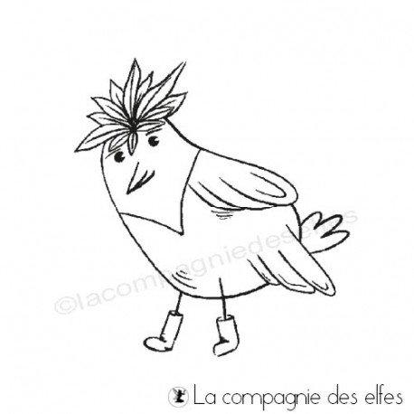 Tampon à colorier | tampon oiseau rigolo