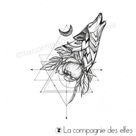 Achat tampon loup chaman | wolf tatoo shaman rubberstamp