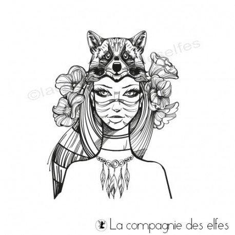 cartes 3/3 chaman manque vignettes Tampon-femme-chaman-au-raton-laveur