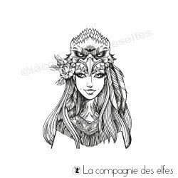 Achat tampon femme chaman raton laveur | racoon woman rubberstamp