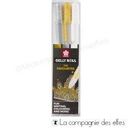 Acheter stylo gel or argent blanc Sakura