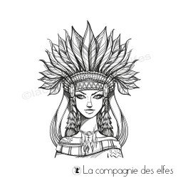 Achat tampon femme chaman plumes | shamane woman rubberstamp