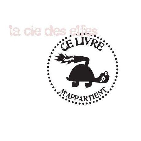 Tampon tortue | tampon marquage livre | tampon ex libris tortue | turtle stamp