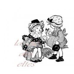 grand tampon couple de petites filles nm