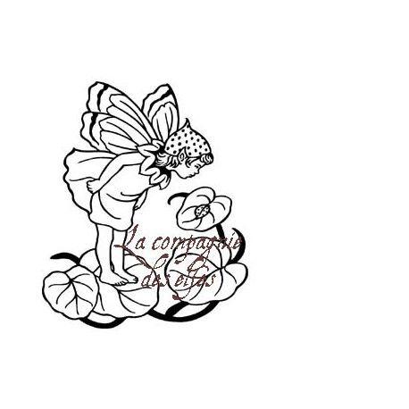 Petit lutin dans les fleurs tampon nm