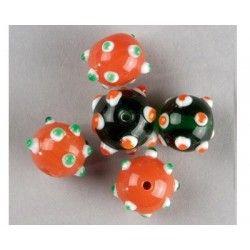 perles en verre orange et vert rondes
