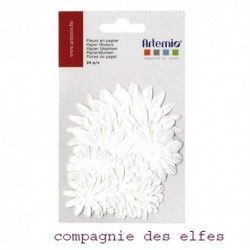 lot de 24 fleurs blanches papier