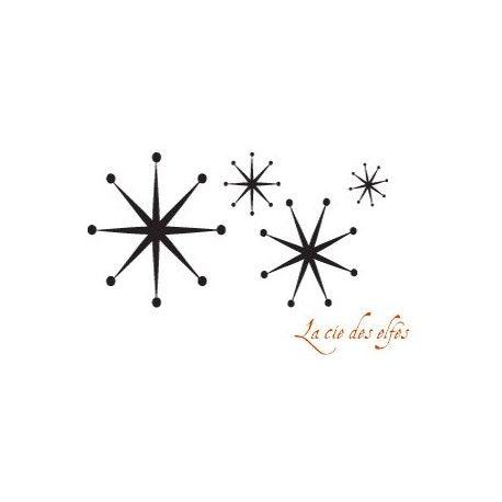 tampon étoile de neige |farandole étoiles de neige | tampon scrap étoiles