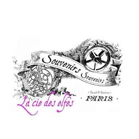 Tampon bois souvenirs Paris vintage